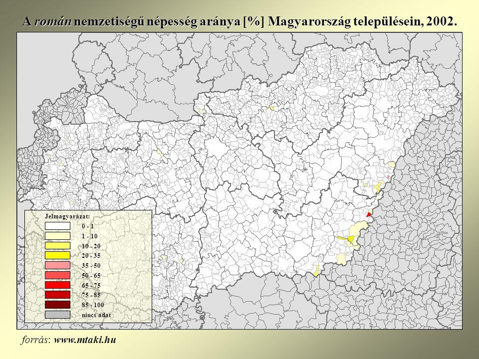 A román nemzetiségű népesség aránya [%] Magyarország településein, 2002.